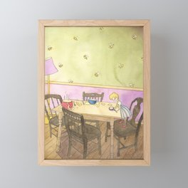Goldilocks Sampling the Porridge Framed Mini Art Print