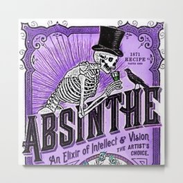Vintage 1871 Purple Absinthe Liquor Skeleton Elixir Aperitif Cocktail Alcohol Advertisement Poster Metal Print