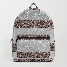 White Marble Rose Gold Glitter Stripe Glam #2 #minimal #decor #art #society6 Backpack