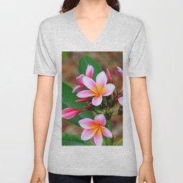 Plumeria Floral Art - Tropical Queen - Sharon Cummings Unisex V-Neck