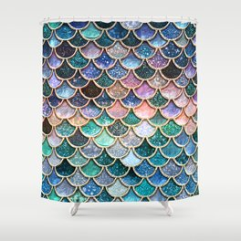 Multicolor Pink And Aqua Mermaid Scales - Beautiful Abstract Glitter Pattern Shower Curtain