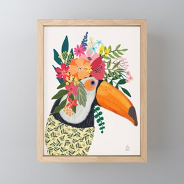 Toucan with flowers on head Framed Mini Art Print