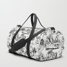 Alice in Wonderland   Toile de Jouy Pattern   Black and White   Vintage Pattern   Victorian Gothic   Duffle Bag