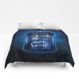Phone box doctor with Bad wolf graffiti Comforters