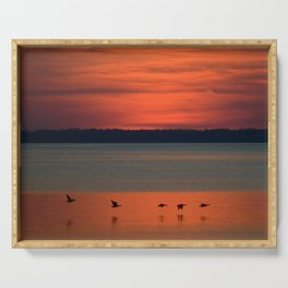 A flock of geese flying north across the calm evening waters of the bay Serving Tray