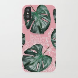 Modern 3d green tropical monstera leaf photo on blush pink white floral illustration iPhone Case