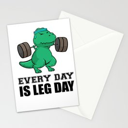 T-Rex Fitness Weights Training legs Gift Stationery Cards