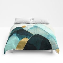 Gold and Blue Hills Comforters