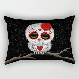 Adorable Red Day of the Dead Sugar Skull Owl Rectangular Pillow