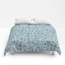 Teal and coffee hand drawn elegant surface pattern Comforters