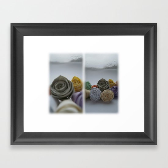 Paper Roses on a Frosty Day Framed Art Print