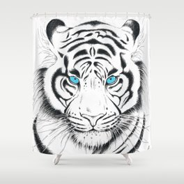 White Bengal tiger Blue Eyes Ink Art Shower Curtain