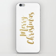 Merry Christmas | Gold Glitter Script iPhone & iPod Skin