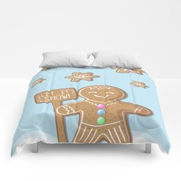 Merry Christmas Blue Poster with Gingerbread Man and Snowflakes Comforters