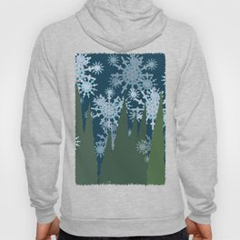 Frosty Snowflakes Falling in the Forest Hoody