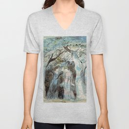 "William Blake ""Illustrations to Dante's Divine Comedy - Dante and Virgil Penetrating the Forest"" Unisex V-Neck"