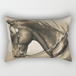 Western Quarter Horse Old Photo Effect Rectangular Pillow