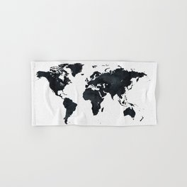 World Map in Black and White Ink on Paper Hand & Bath Towel