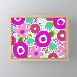 Bold Abstract Floral Inspired Pattern (Shades of Red, Pink, Green) Framed Mini Art Print
