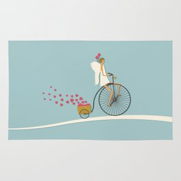 Love Delivery. Cupid on the bike, retro style design Rug