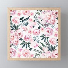 Floral Rose Watercolor Flower Pattern Framed Mini Art Print
