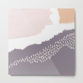 NORA :: Modern Abstract Painting Brush Strokes Color Palette Light Pink Mustard Gold Blue Lavender Metal Print