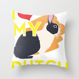 I Love My Dutch Rabbit Throw Pillow