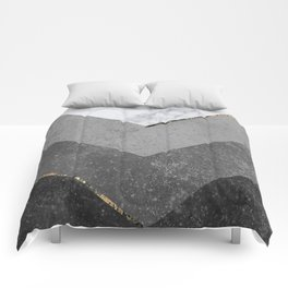Marble Gray Copper Black Gold Chevron Comforters