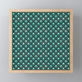 Mermaid Scales in Metallic Turquoise Framed Mini Art Print
