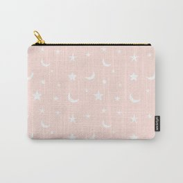 White moon and star pattern on pink background Carry-All Pouch