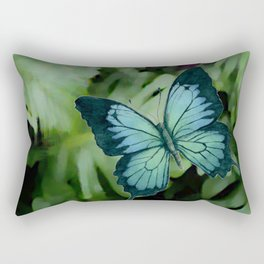 Tropical Blue Ulysses Butterfly Rectangular Pillow