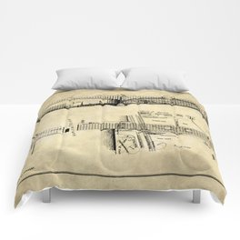 George Washington Bridge Construction Blueprint Comforters