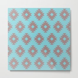 Southwestern Pattern 429 Turquoise and Gray Metal Print