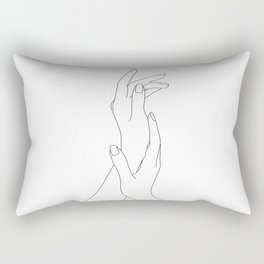 Hands line drawing illustration - Dia Rectangular Pillow
