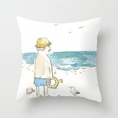 The old boy and the sea Throw Pillow