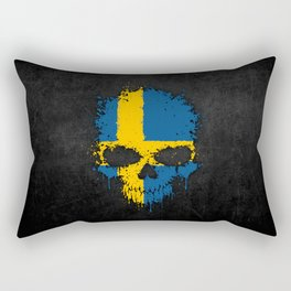 Flag of Sweden on a Chaotic Splatter Skull Rectangular Pillow