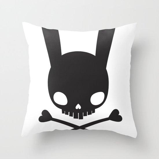 SKULL BUNNY OF PIRATES Throw Pillow