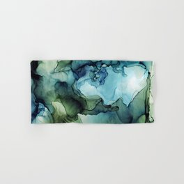 Land and Water Abstract Ink Painting Blues and Greens Hand & Bath Towel