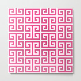Large Pink and White Greek Key Pattern Metal Print
