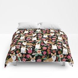 Corgi Florals - vintage corgi and florals gift great for corgi lovers, corgi gift, corgi florals, co Comforters