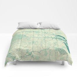 Dublin Map Blue Vintage Comforters
