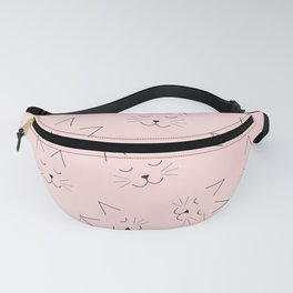 Cute Girly Black Kitty Cat Face Pink Pattern Fanny Pack