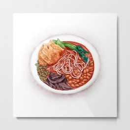 Watercolor Illustration of Chinese Cuisine - Liuzhou River Snails Rice Noodle   螺蛳粉 Metal Print