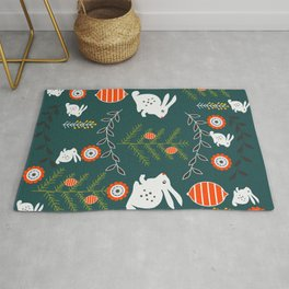 Winter holidays with bunnies Rug