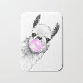 Bubble Gum Sneaky Llama Black and White Bath Mat