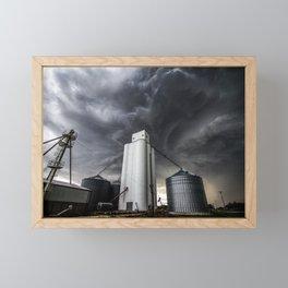 Skyscraper - Storm Over Grain Elevator in Kansas Town Framed Mini Art Print