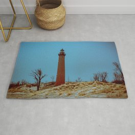 Little Sable Point Lighthouse Winter Desolate Dunes Blue Otherworldly Sky Rug