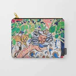 Lion, Cheetah and Tiger Still Life - Wildflowers in Wild Cat Vase After Matisse Carry-All Pouch