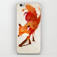 blue iPhone & iPod Skins featuring Vulpes vulpes by Robert Farkas