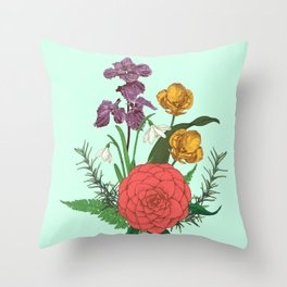Bouquet with flowers and herbs Throw Pillow